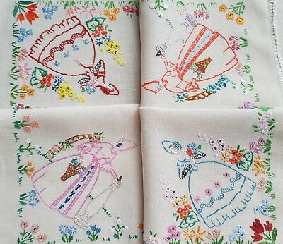 Beautiful Vintage Hand Embroidered Tablecloth with Crinoline Ladies