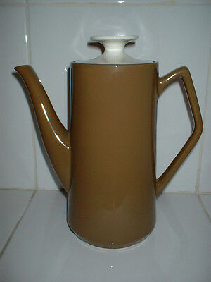 VINTAGE COFFEE POT 9 INCHES TALL - GREEN AND CREAM by BESWICK 1958 BASE NUMBER