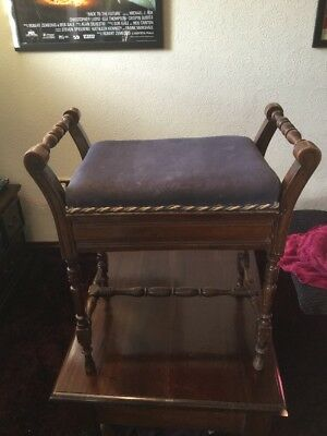 Antique Piano Stool With Storage For Music