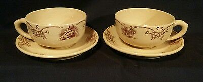 2 Sets Shenango ROUND UP Oversized Cups & Saucers Incaware Restaurant Ware