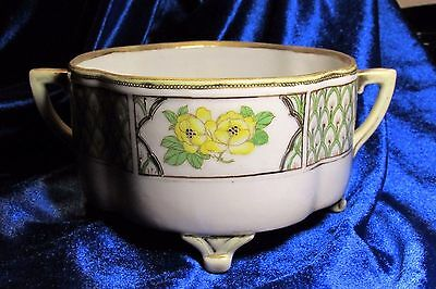 c1920 Nippon Morimura Brothers Footed Flower Pot Jardiniere Yellow Roses Handles