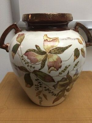"""RARE Antique Lustreware Floral Vase Urn Green Marking 8"""" Tall Copper Accents #ko"""