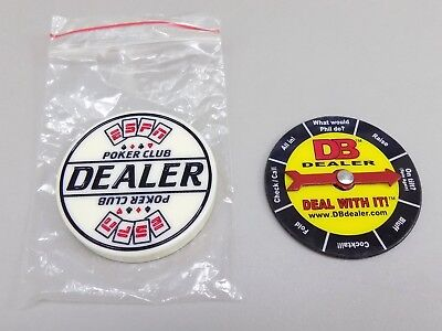 ESPN Poker Club Dealer button with Deal With It Spin Arrow Button - 2 pcs