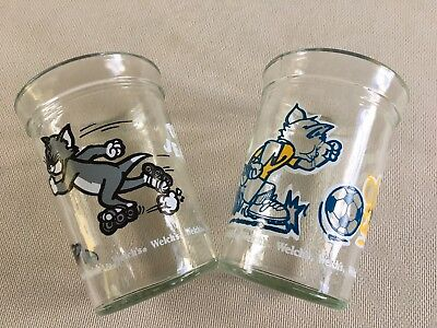 Pair Of Tom And Jerry Drinking Glasses 1990, 1991 Welch's Jelly Glasses