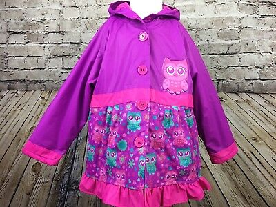 NWT Girls Western Chief Owl Pink Purple Raincoat Jacket PVC Free Size 6 6X