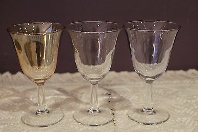 Set Of 3 Multi Colored Wine Glasses With Clear Stems