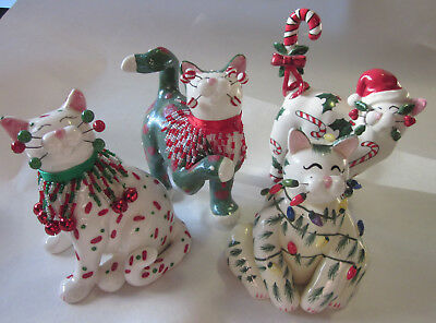 4 CAT ceramic figures Christmas Amy Lacombe Willetts Designs