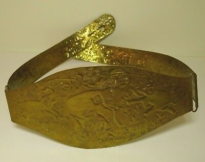 Ladies Brass Embossed Panel Belt Elephants India Vintage Waist 31 to 34 Inches