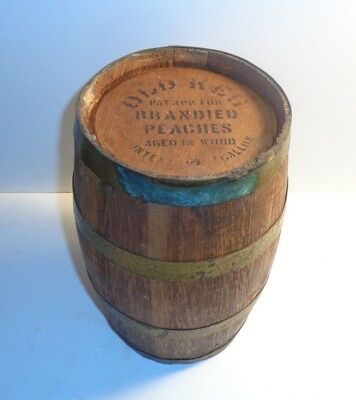 """old Keg"" Patent Applied For Brandied Peaches Oak-Wood Barrel, 1/2 Gallon Size"