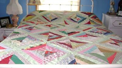 """Antique Crazy Quilt 69""""X86"""" Display or Cutter Flannel Backing NR!"""