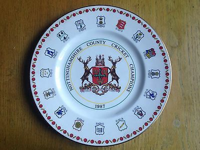 Nottinghamshire County Cricket Champions 1987 commemorative plate