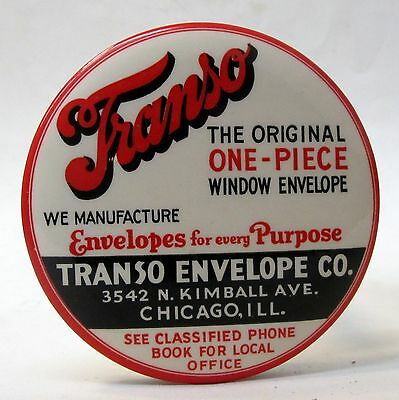 TRANSO ENVELOPE CO. Chicago celluloid advertising paperweight pocket mirror *