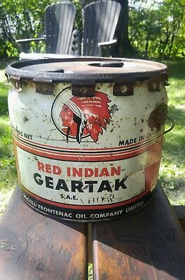 Ultra Rare Red Indian Mccoll Frontenac 25 lbs Geartak Grease Oil can Wood Handle