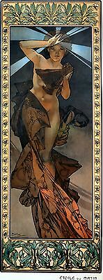 Small Alphonse Mucha Art Nouveau Art Reproduction Morning Star Print Picture NEW