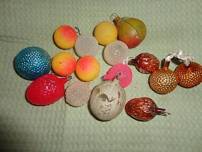Antique Fruit, Nuts, and Berries Old Feather Tree Christmas Ornaments
