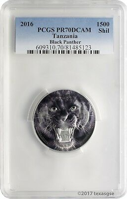 2016 1500 Shilling Tanzania Black Panther 2 oz. Silver Coin PCGS PR70DCAM