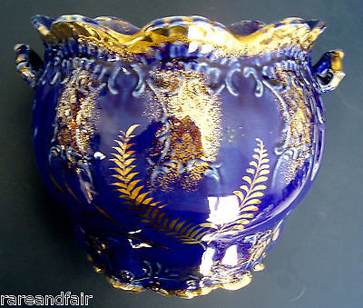 Flow blue jardiniere in deep cobalt w gold highlights - FREE SHIPPING