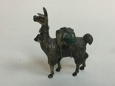Sterling Silver Llama Figurine Turquoise, 46.9 grams Solid.