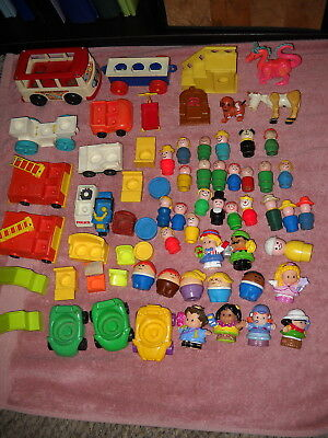 Mixed lot vintage Fisher Price Little People fire engine mini bus castle pieces