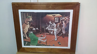 Dogs playing pool framed picture
