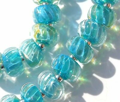 FRISKEY handmade Lampwork Glass Beads, CARIBBEAN WAVE !!!