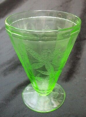 Green Depression Glass Footed Juice Tumbler Poinsettia Floral