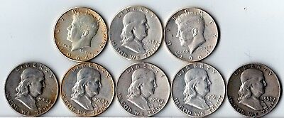 8 Silver Half Dollars From Grandma's Collection ~ Kennedy & Franklin~ $4 Fv