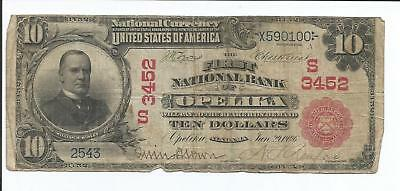 1902 National Bank Note First National Bank Opelika Alabama RED SEAL Rare