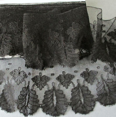 """Antique 19thC Handmade French Black CHANTILLY LACE Trim 3.5"""" Wide X 122"""" Long"""