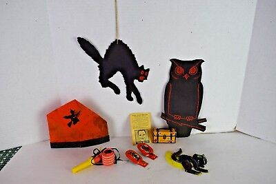 Vintage HALLOWEEN Clickers TOOTH BLACK Black Cat DENNISON OWL Hat Roll Out 1930