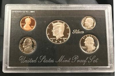 1992-S 1C-50C Silver Proof Set 5 Ultra Cameo Coins COA US Mint