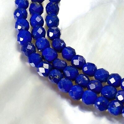15.8 inch Royal Blue LAPIS LAZULI Bead Strand 3 mm Faceted Gemstone 26ct