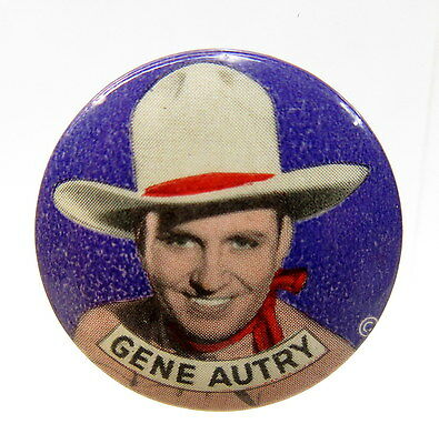 1940's cowboy GENE AUTRY Portrait on purple pinback button TV movies Western *