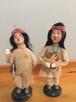 """Lot of 2 Byers Choice Indians one with fish, other with corn 8"""""""