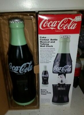 COCA COLA Coke - Contour Bottle Musical and Talking with Polar Bear Wall Clock