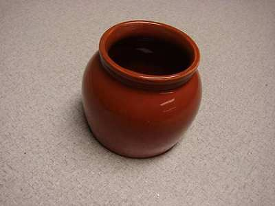 "Coorsite pot 991 3-1/2"" tall redish brown color excellent condition"