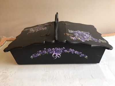 Hand Painted Sewing Box With Cottons And Sewing Accessories