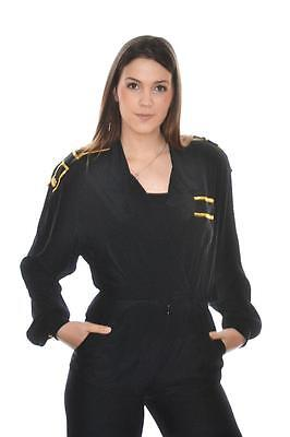 vtg  80s  MILITARY Gold & BLack eppalaute MARCHING BAND romper  JUMPSUIT  m 8