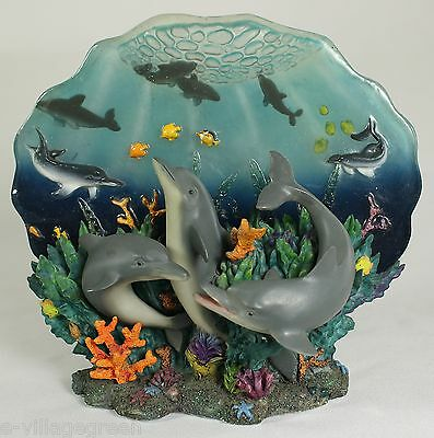 DOLPHIN TRIO DECORATIVE FIGURE Wildlife Collection Ocean Sea Fish Coral Reef NEW