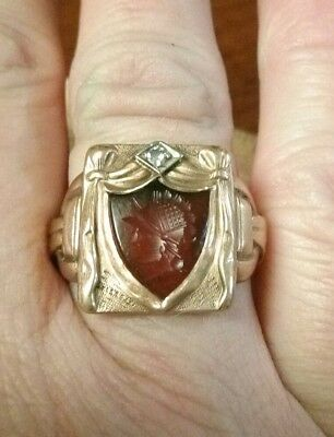 Antique Carved Cameo 10k Gold Diamond Ring Size 7