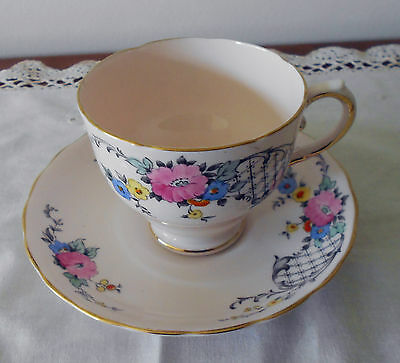 Tuscan England Tea Cup And Saucer Pale Pink Background C1920's