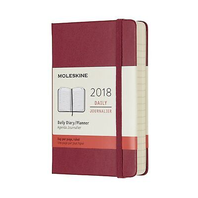 MOLESKINE Hard Cover Agenda Daily 2018 RED Pocket 9x14cm Layout Striped