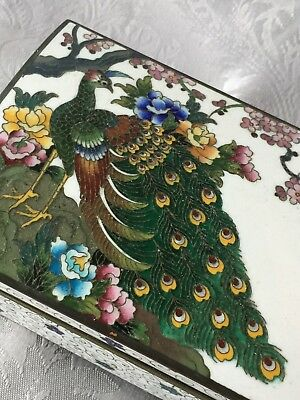Vintage INABA Cherry Blossom PEACOCK CLOISONNÉ Enamel  MUSIC BOX SIGNED