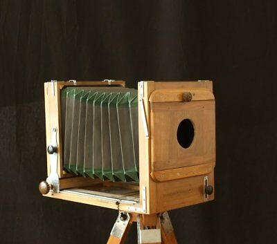 Complete Set Antique Wooden Camera 5x7 13x18 wet plate Holzkamera + Tripod