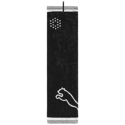 Puma Tri-Fold Club Golf Towel Towel Embroidered with Carabiner 908032-01 New