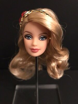 2012 Holiday Barbie Doll HEAD ONLY Christmas Doll for OOAK Blonde Hair Blue Eyes