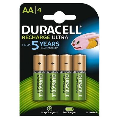 4 x Duracell AA 2500 mAh Rechargeable Batteries  NiMH, HR6 MN1500 -Pre Charged