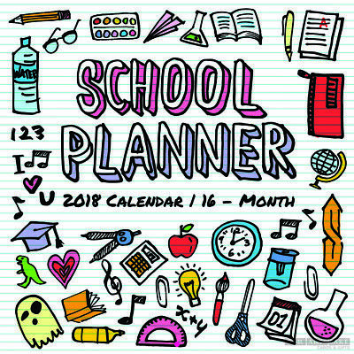School Planner 2018 Square Wall Calendar/Planner (For Arts Sake) Free Postage