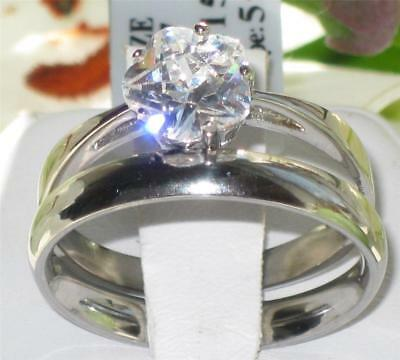 Flower Stainless Steel  Solitaire Engagement Ring Simulated Diamonds Str411
