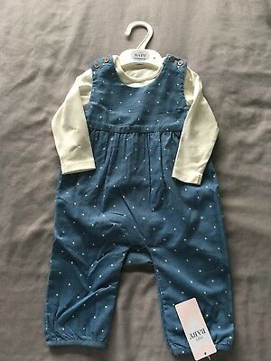 M&S baby Girl Dungarees And Top Set 6-9 Months BNWT